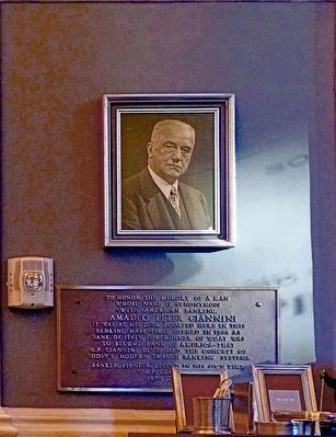 Amadeo Peter Giannini Plaque and Photo image. Click for full size.