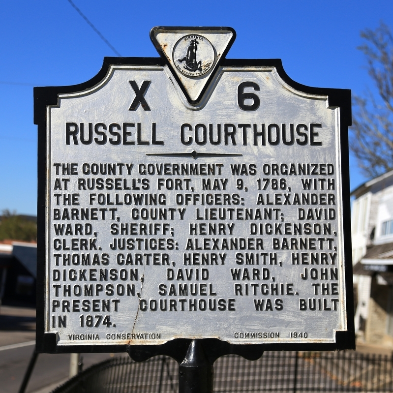Russell Courthouse historical marker in close-up