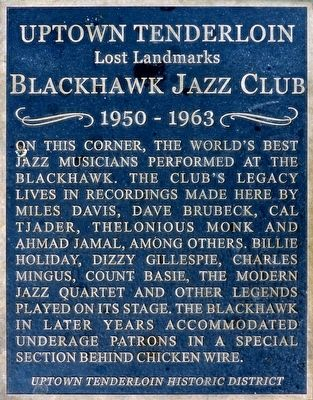 Blackhawk Jazz Club Marker image. Click for full size.