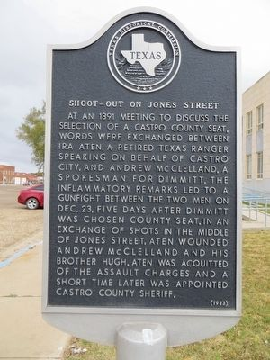 Shoot-out on Jones Street Marker image. Click for full size.