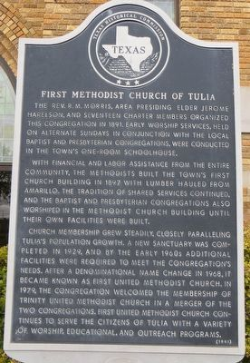 First Methodist Church of Tulia Marker image. Click for full size.
