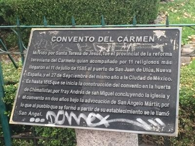 The Del Carmen Convent Marker image. Click for full size.