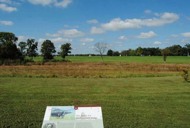 The Battle for McPherson's Ridge Marker(br>McPherson's Ridge in Background image. Click for full size.