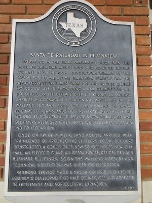 The Santa Fe Railroad in Plainview Marker image. Click for full size.