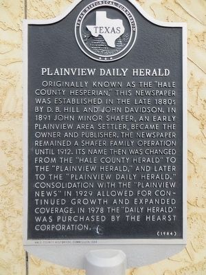 Plainview Daily Herald Marker image. Click for full size.