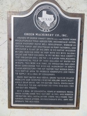 Green Machinery Co., Inc. Marker image. Click for full size.
