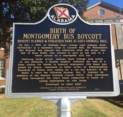 Birth of Montgomery Bus Boycott Marker (Front) image. Click for full size.