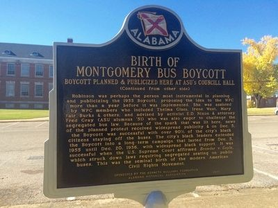 Birth of Montgomery Bus Boycott Marker (Reverse) image. Click for full size.