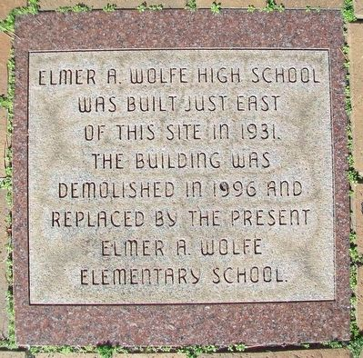 Elmer A. Wolfe High School Marker image. Click for full size.