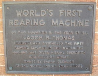World's First Reaping Machine Marker image. Click for full size.