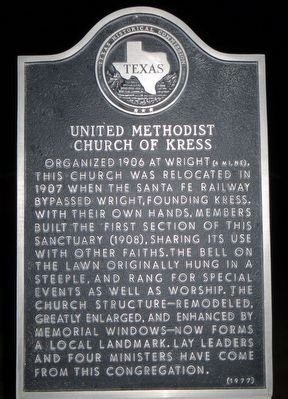 United Methodist Church of Kress Marker image. Click for full size.