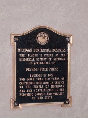 The Detroit Free Press centennial business marker image. Click for full size.