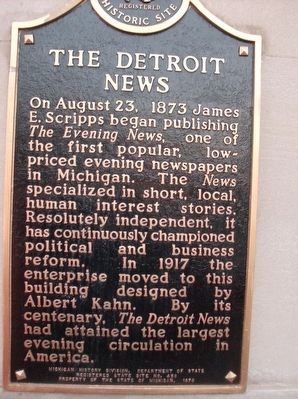The Detroit News Marker image. Click for full size.