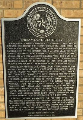 Dreamland Cemetery Marker image. Click for full size.