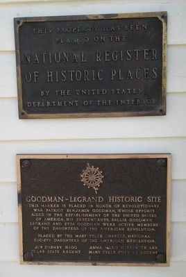 Goodman Home National Register and DAR Plaques image. Click for full size.