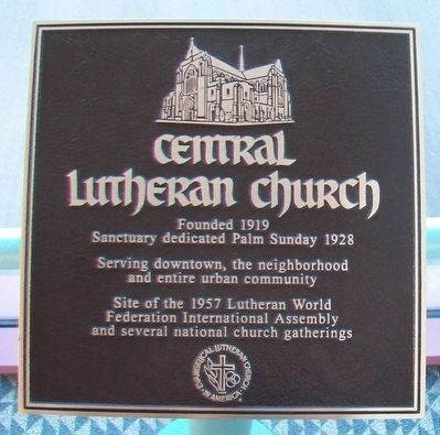Central Lutheran Church Marker image. Click for full size.