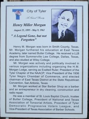 City of Tyler Henry Miller Morgan Plaque image. Click for full size.