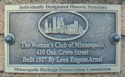 The Woman's Club of Minneapolis Marker image. Click for full size.