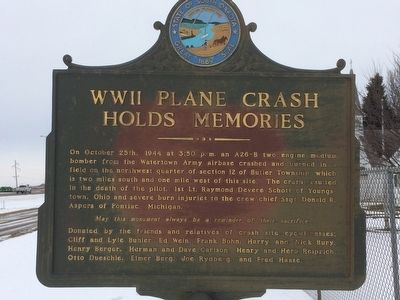 WWII Plane Crash Holds Memories Marker image. Click for full size.
