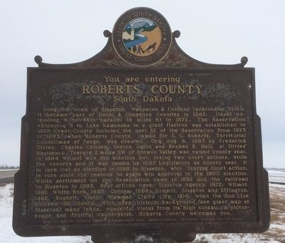 Roberts County South Dakota Marker image. Click for full size.