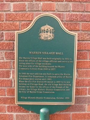 Warren Village Hall Marker image. Click for full size.