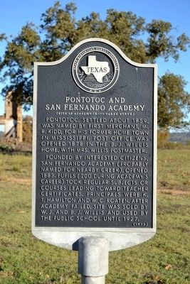 Pontotoc and San Fernando Academy Marker image. Click for full size.