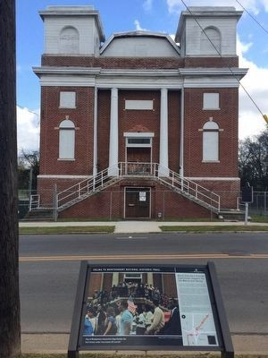 New Selma to Montgomery March marker in front of church. image. Click for full size.