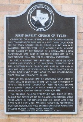First Baptist Church of Tyler Marker image. Click for full size.