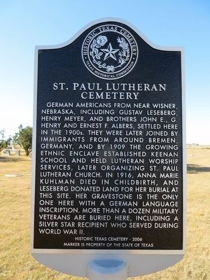 St. Paul Lutheran Cemetery Marker image. Click for full size.