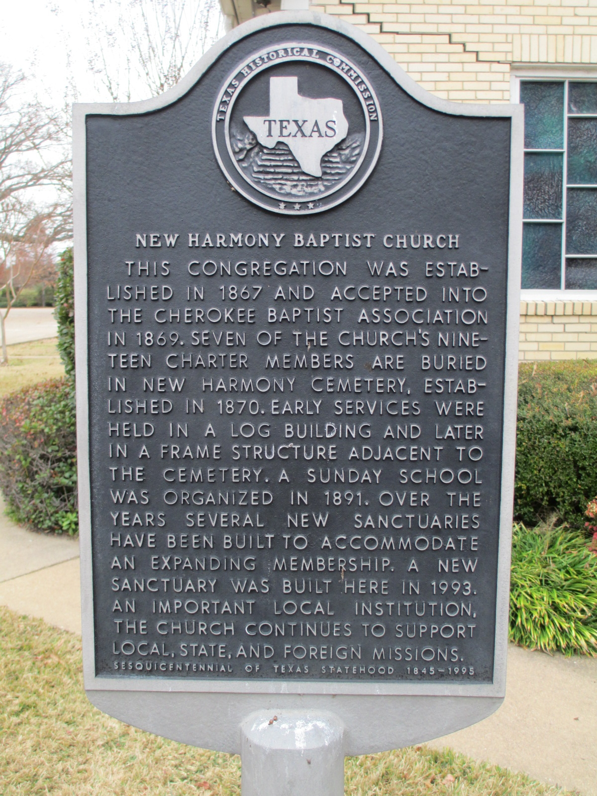New Harmony Baptist Church Marker