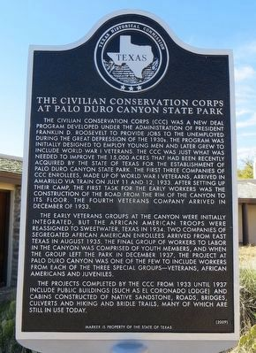 The Civilian Conservation Corps at Palo Duro Canyon State Park Marker image. Click for full size.