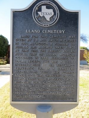 Llano Cemetery Marker image. Click for full size.