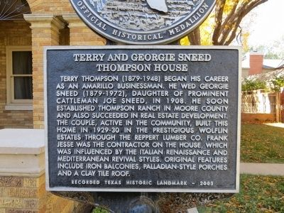 Terry and Georgie Sneed Thompson House Marker image. Click for full size.