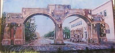 Inset Photo of the Davis Arch Mural That Was on the North Side of the Terminal Hotel Building image. Click for full size.