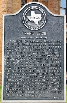 Frank Teich Texas Historical Marker image. Click for full size.
