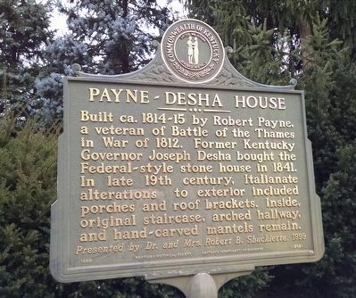 Payne-Desha House Marker image. Click for full size.