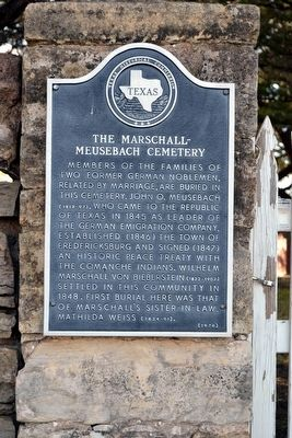 The Marschall - Meusebach Cemetery Marker image. Click for full size.