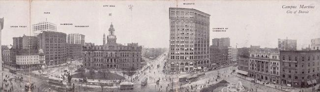 <i>Campus Martius - City of Detroit</i> - Panoramic Postcard <i>(Click to enlarge.)</i> image. Click for full size.