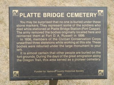 Platte Bridge Cemetery Marker image. Click for full size.