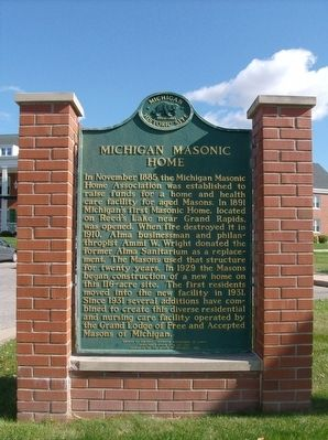Michigan Masonic Home Marker image. Click for full size.