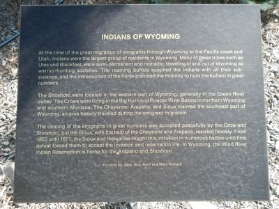 Indians Of Wyoming Marker image. Click for full size.