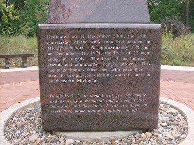 The 1971 Water Tunnel Explosion Memorial - side 2 image. Click for full size.