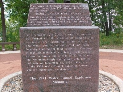 The 1971 Water Tunnel Explosion Memorial - side 3 image. Click for full size.