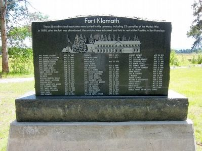 Fort Klamath Military Cemetery Memorial Marker image. Click for full size.
