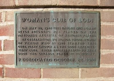 Woman's Club of Lodi Marker image. Click for full size.