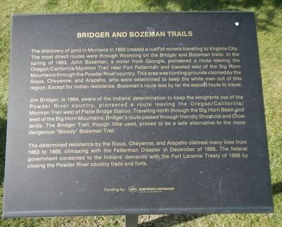 Bridger and Bozeman Trails Marker image. Click for full size.