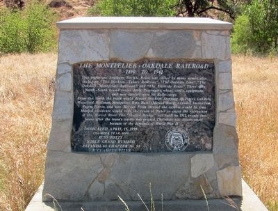 The Montpelier-Oakdale Railroad Marker image. Click for full size.