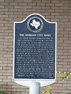 The Hubbard City News Texas Historical Marker image. Click for full size.