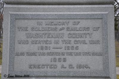 Washtenaw County War Memorial Marker Text image. Click for full size.