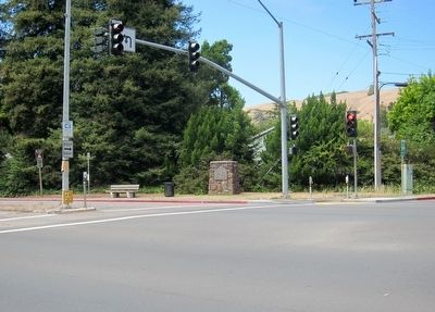 John Reed's Saw Mill Marker - Wide View, Looking North Across East Blithedale Ave. image. Click for full size.